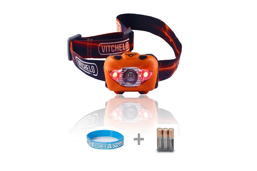 Vitchelo V800 Headlamp Flashlight with Red LED