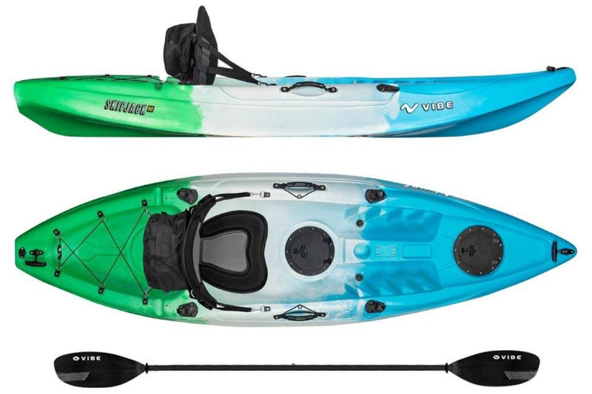 Best Fishing Kayaks - Vibe Kayaks Skipjack 90 9-Foot Angler Sit On Top Fishing Kayak Paddle Deluxe Kayak Seat